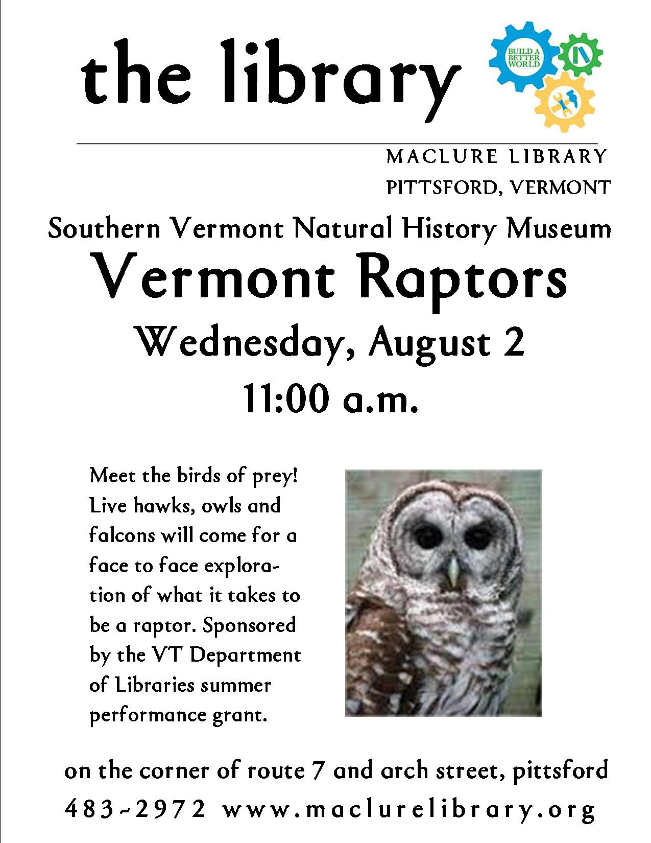Vermont Raptors Maclure Library