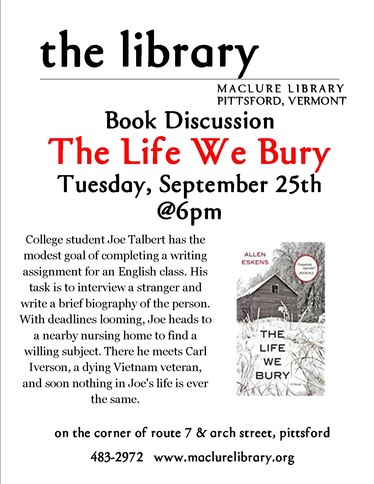 Book Club - The Life We Bury - Maclure Library